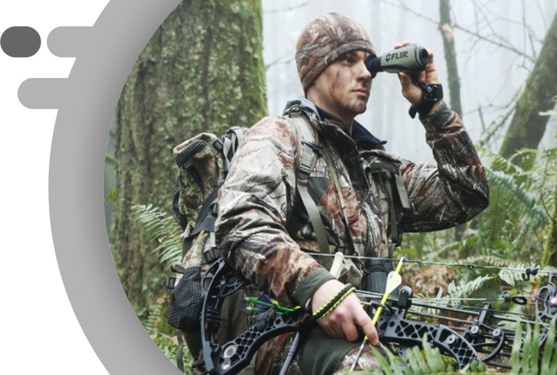 Soldier with FlIR Tactical and Outdoor Vision Cameras and Scopes